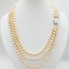 3 ряда 6-7 мм натуральный розовый жемчуг ожерелье, 19-22 дюймов