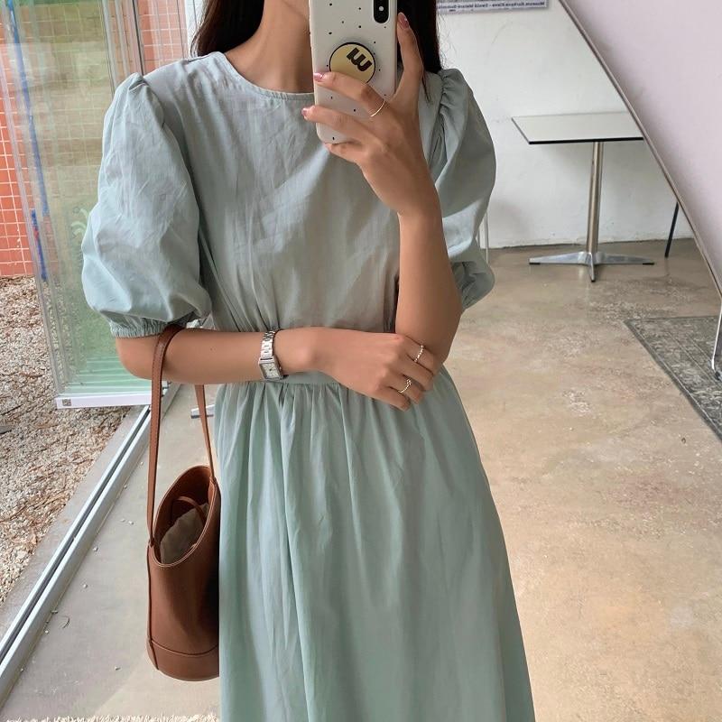 Hcc814ee4340a4ba2be9e06f16efd5344p - Summer O-Neck Short Sleeves Elastic-Waist Calf Length Solid Dress