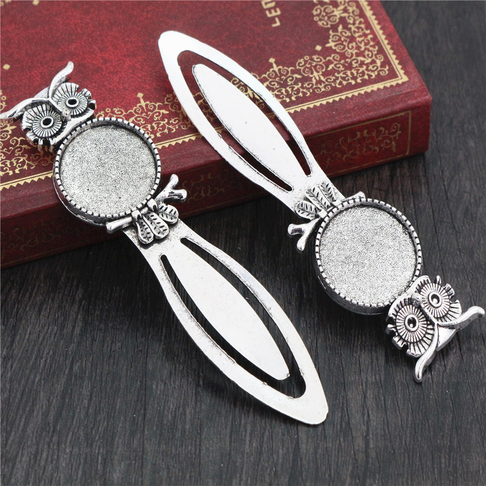 New Fashion 2pcs 20mm Inner Size Antique Silver Simple Style Handmade Bookmark Cabochon Base  Cameo Setting (H1-13)