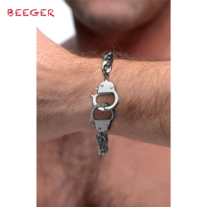 BEEGER Cuff Him Handcuff Bracelet,men Cuffed Locking Bracelet ,Hand Wrist Erotic Positioning Bandage Cuffs Bracelets