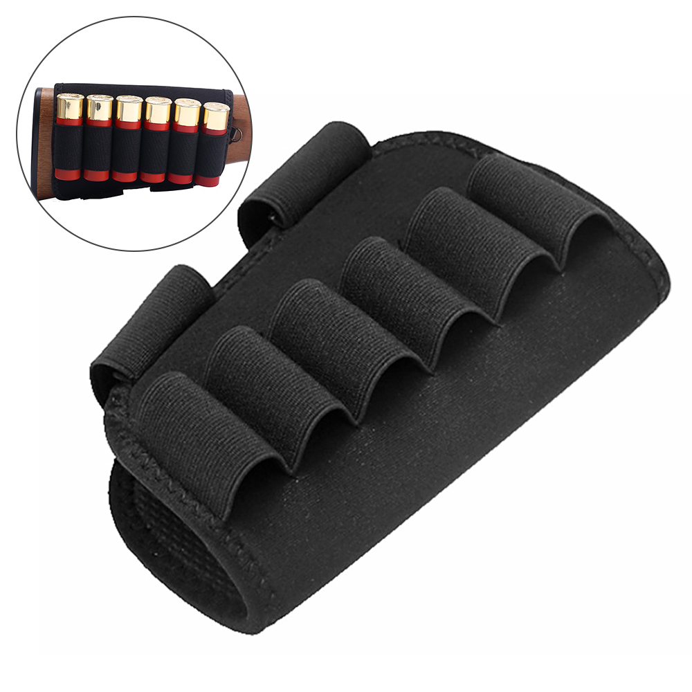 Tactical 6 Round Shotgun Buttstock Ammo Holder 12/20 Ga Bullet Carrier Military Hunting Airsoft Rifle Butt Stock Cartridge Pouch