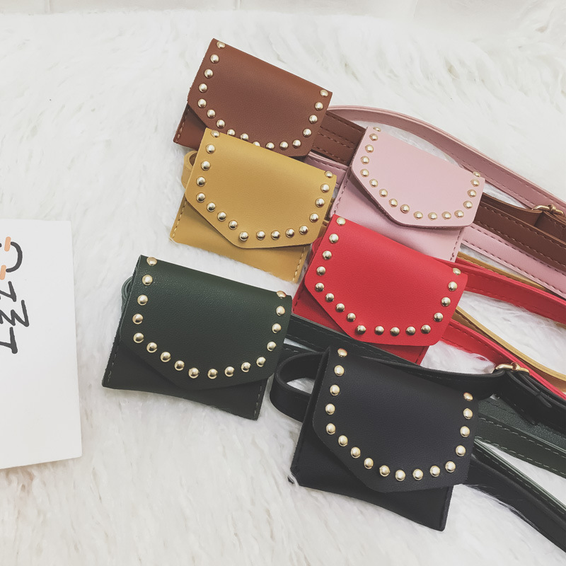 Cute Kid Rivet Waist Bag PU Leather Fanny Pack Baby Girl Boy Small Wallet Chest Bag Pouch Waist Packs