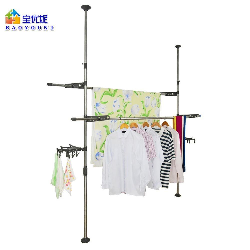 Cabides de secagem cabides rack de vestuário cabide cabides de secagem de chão ao teto ajustável rack de secagem + clip DQ0777 29D