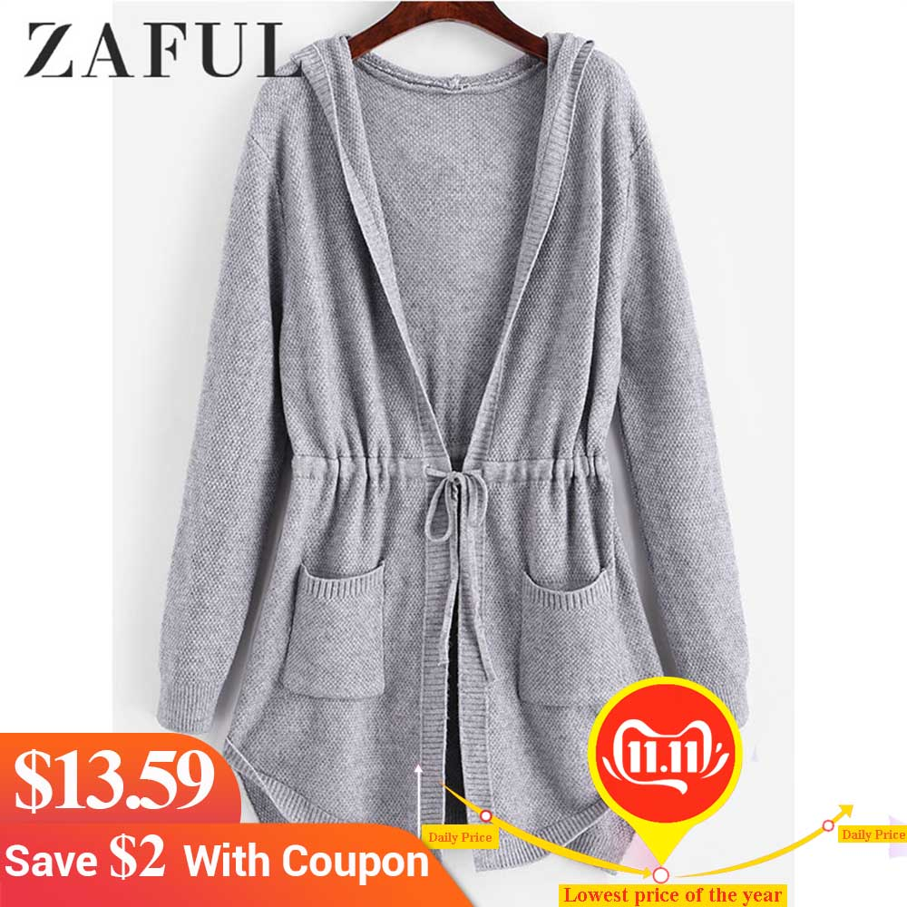 ZAFUL Hooded Drawstring Pockets Longline Cardigan Women Long Hooded Sweaters High Waist Long Tops Streetwear 2019 Autumn