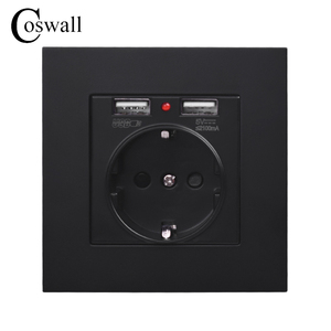 COSWALL Wall Socket Grounded Children Protective Door, EU Russia Spain Outlet With 2.1A Dual USB Charging Black White PC Panel