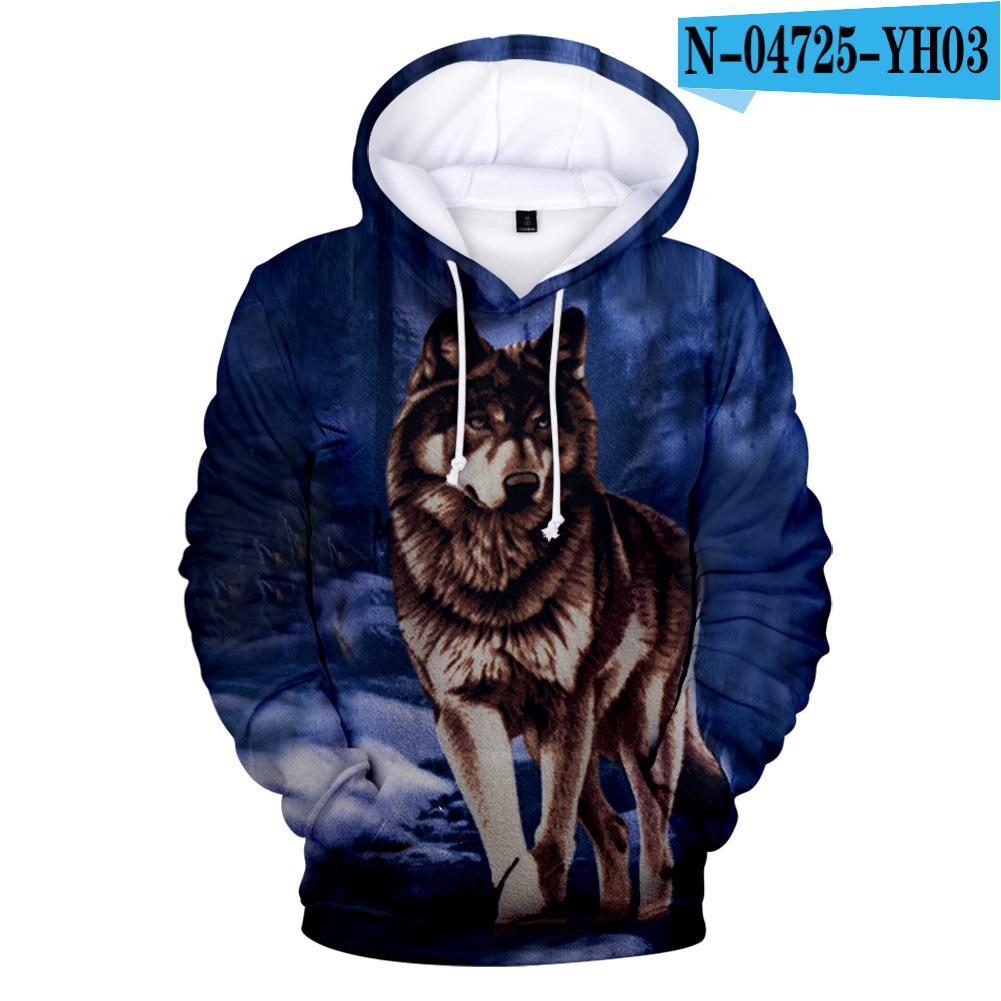 MISSKY Winter Men Women Sweatshirt New Fashion Painting 3D Hoodies Animal Wolf Print Casual Hooded Sweatshirt For Lovers Male