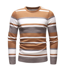 Fashion Striped Knitted Sweater Men Pullover 2019 Autumn Winter Jumper Plus Size Sweaters Male Basic Knitwear Tops Casual 3XL