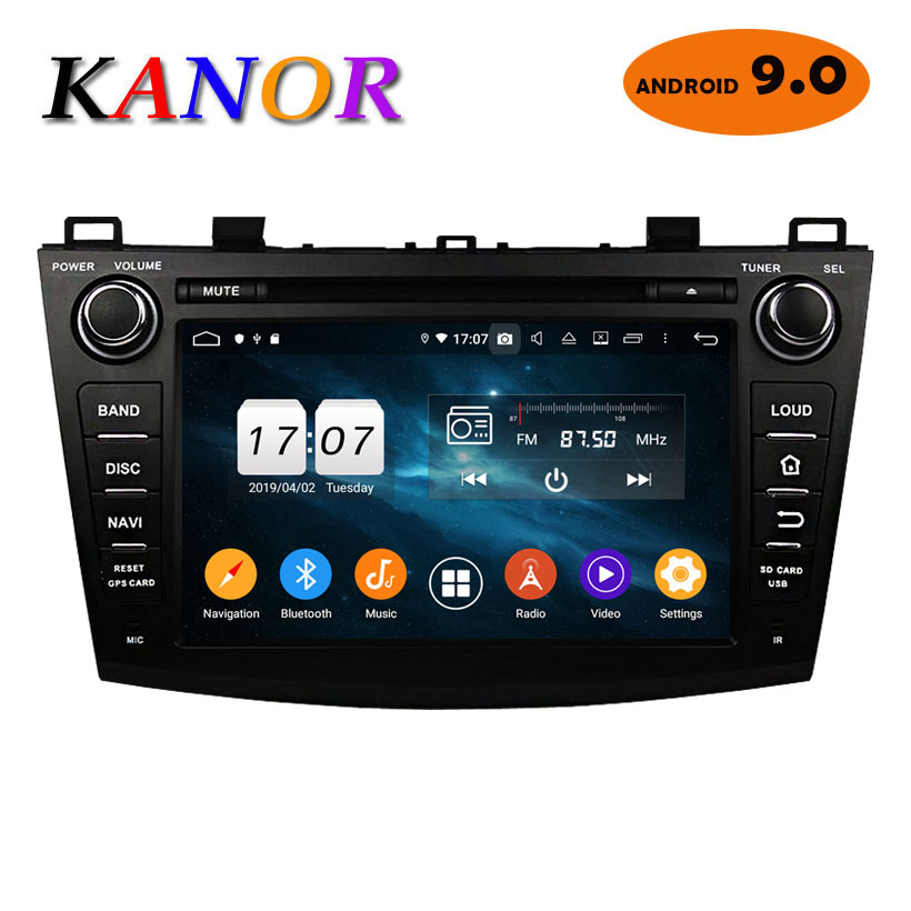 KANOR Octa Core Android 9.0 4+32g <font><b>2din</b></font> Car Radio For <font><b>Mazda</b></font> <font><b>3</b></font> 2010-2012 With Multimedia GPS Navigator WIFI Radio Cassette Recorde image