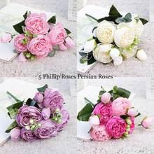 Petit bouquet de roses et de pivoines artificielles en soie, magnifique bouquet de fleurs, pour décoration de mariage, pour la maison, printemps, 2021