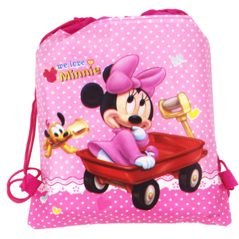 High Quality 34cmx27cm Drawstring Bag Minnie Mouse Child Travel School Bag Fabrics Backpack Women Shopping Non-woven Bag Supply