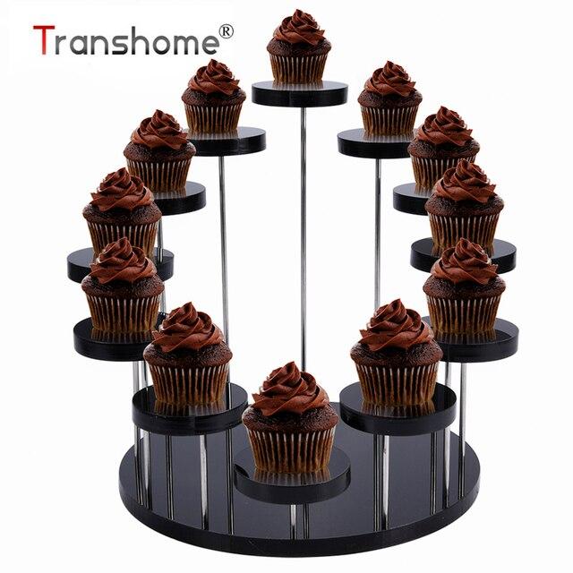 Soporte de acrílico para cupcakes Transhome, soporte de exhibición para joyería/pastel, estante transparente para postres, herramientas de decoración para fiestas de cumpleaños y bodas