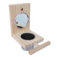 Деревянная миска для кормления птиц из нержавеющей стали с зеркалом, подставка для попугая, игрушечная чашка для птиц