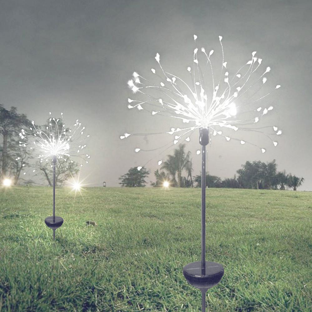 2Pcs Solar Light 90/150 LED Outdoor Waterproof Solar Garden Light Grass Fireworks Lamp Dandelion Lawn Lights Landscape Lamp