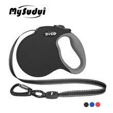 MySudui 4M 5M chowany smycz automatyczna wydłużana odblaskowy nylon smycze dla psa smycz smycz dla dużego psa chowany dla duży pies