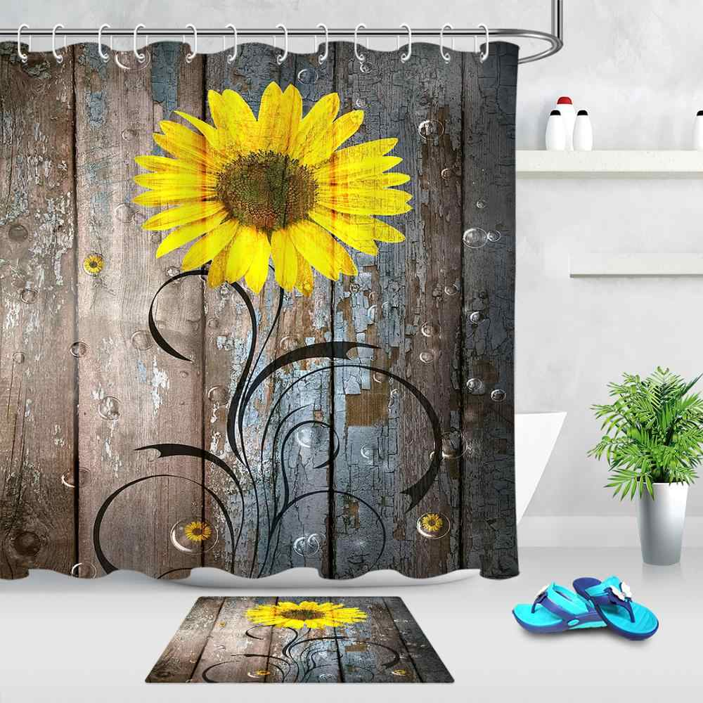 yellow sunflower shower curtain sets