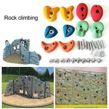 10pcs Plastic Children Kids Rock Climbing Wood Wall Stones Hand Feet Holds Grip Kits Without Screws Climbing Equipment 10x10x5cm