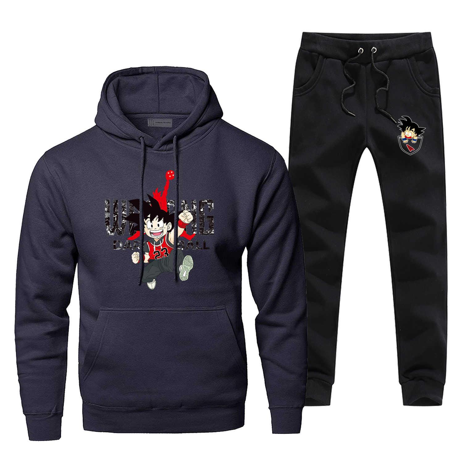 Grappig Japan Anime Dragon Ball Jordan 23 Print Trainingspak Hoodie + broek Mannen Tweedelige Sets Winter Warm Fleece Sportkleding sweatshirt