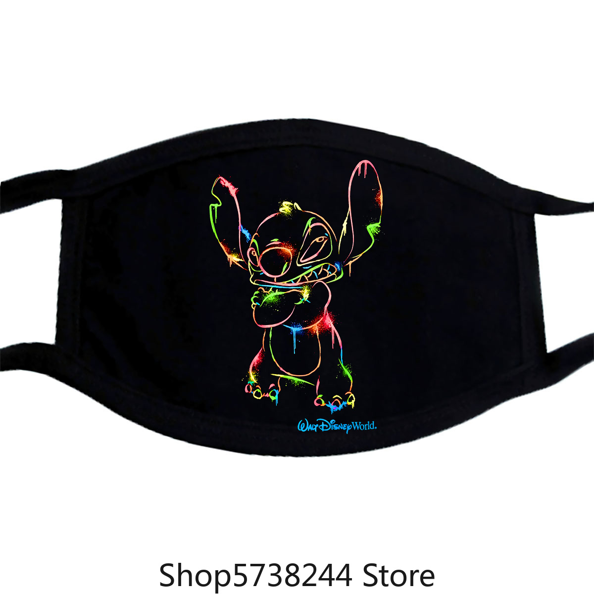 Neon Print (Lilo &) Stitch Land Mask, Xl Washable Reusable Mask For Unisex Black