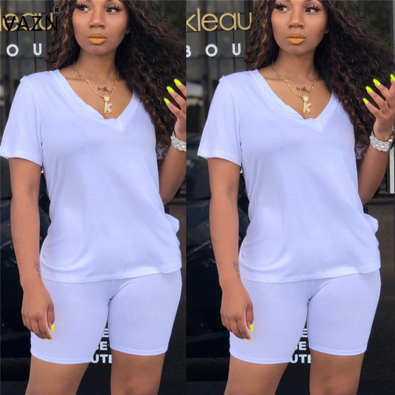 Vazn 2019 verão férias venda quente estilo casual feminino manga curta com decote em v topo elástico calças curtas movimento conjuntos de duas peças ys6073