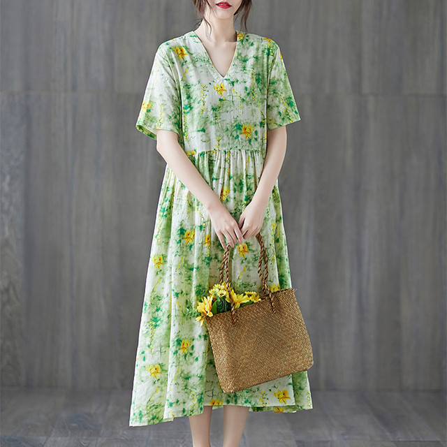 Uego Short Sleeve Loose Summer Dress Soft Cotton Linen Print Floral tender Ladies Dress Plus Size Women Holiday Casual Dress 1