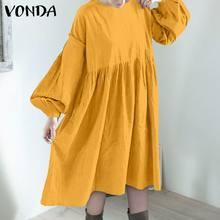 VONDA – Robe longue à volants et manches lanternes pour femmes, tenue de soirée à col rond, longueur mi-mollet, style bohème, 2021