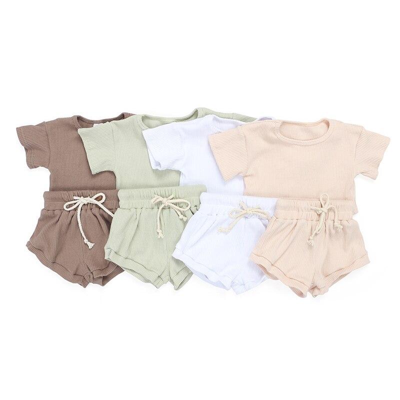 Kaiya Angel/Лидер продаж, изысканные наряды для маленьких девочек, комплект одежды в рубчик для малышей, Детская летняя рубашка с короткими рукав...