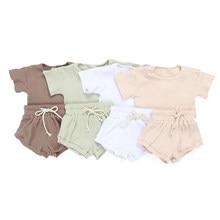 Kaiya anjo quente da criança meninas boutique outfits NB-8Y bebê sólido com nervuras conjunto de roupas crianças verão camisa de manga curta bloomers conjunto