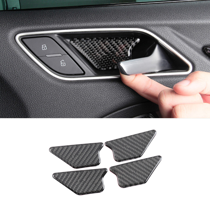 Car Styling For Audi A3 8V A4 B8 A5 Q3 Q5 A6 C7 Interior Carbon Fiber Door Bowl Decoration Cover Trim Stickers Auto Accessories image