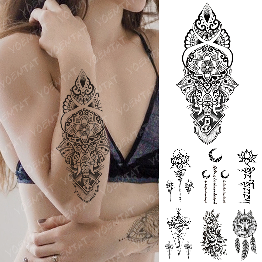 Waterproof Temporary Tattoo Sticker Yoga Lotus Totem Flash Tattoos Elephant Word Indian Body Art Arm Fake Tatoo Women Men