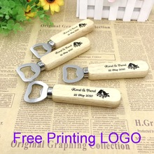 30PCS Wedding Favors Wood Bottle Opener Printing LOGO Customized Beer Openers Kitchen&Bar Party Supplies