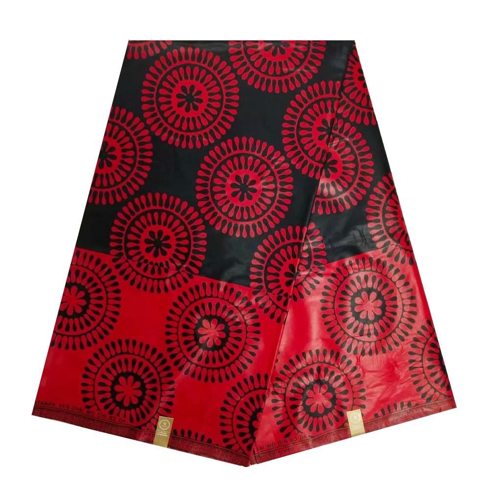 Red African Wax Fabric For Sewing High Quality Real Dutch Print Wax Fabric 100% Cotton, Ghana Ankara Nigerian Pange Wax Fabric