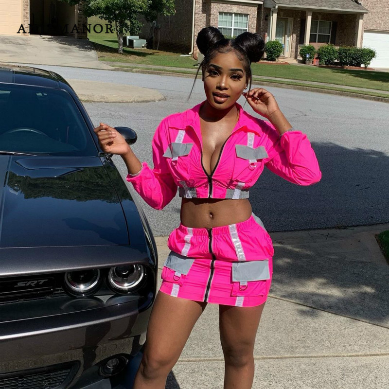 ANJAMANOR Reflective Neon Color Block Sexy Two Piece Set Women Fall Clothing 2019 Street Fashion 2 Piece Skirt Sets D58-AE86
