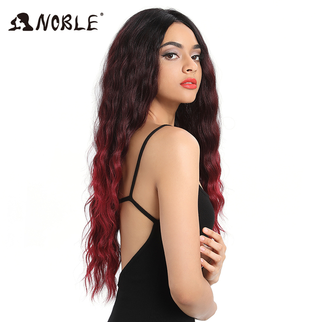 NOBLE Long Wavy 4x4 Lac Front Wigs for Black Women Synthetic Blonde Cosplay Wig 28 4