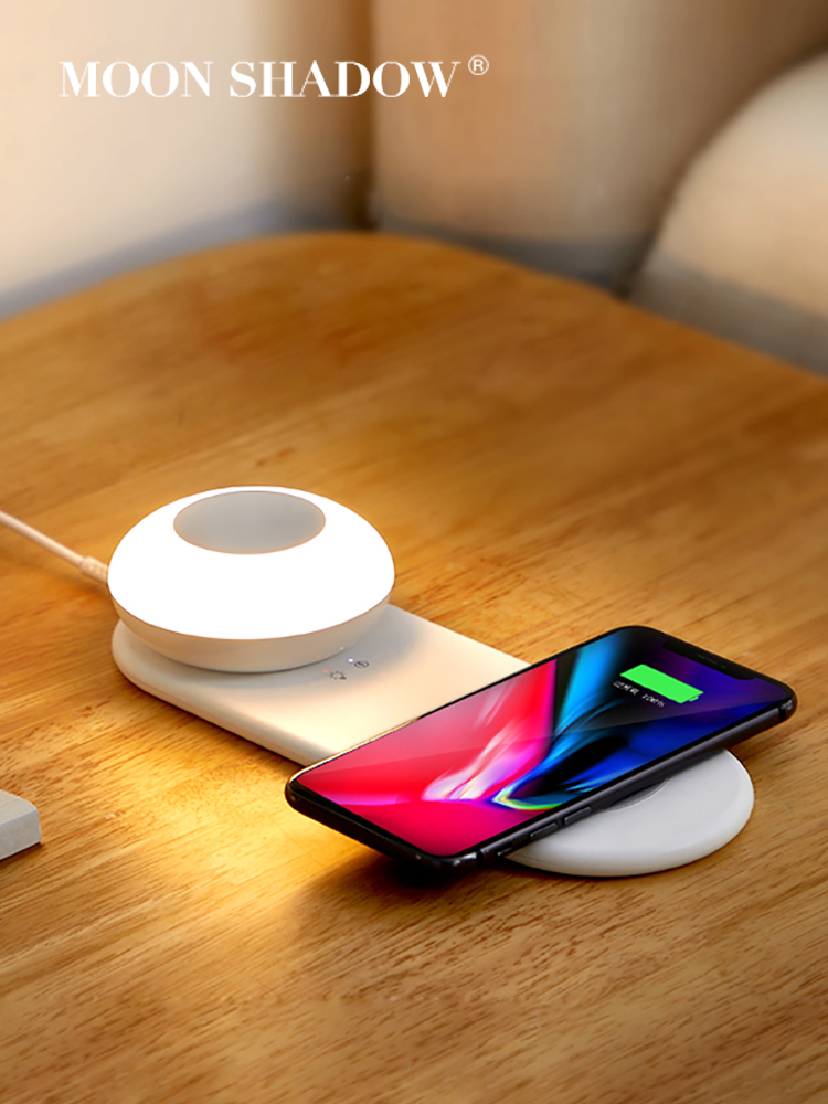 MOONSHADOW Night Light Intelligent Led Sensor Light Bedroom Bedside USB Wireless Charging Eye Protection Night Lamp