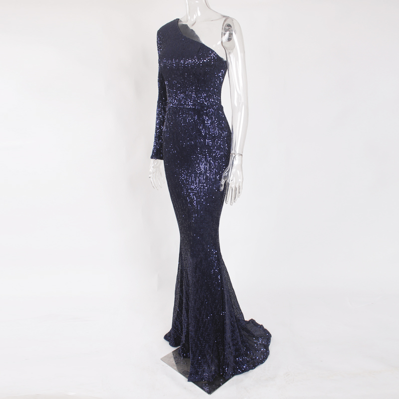 One Shoulder Stretchy Backless Sequin Long Bridesmaid Dress 44