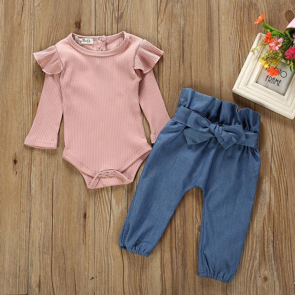 Children Clothing Set Newborn Kids Baby Girls Long Sleeve Outfits Clothes Ruffle Romper Bodysuit+Denim Pants Jeans Costume Set