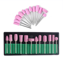 12Pc Nail Drill Bits Ceramic Electric Manicure Head Replacement Device For Manicure Pedicure Polishing Mill Cutter For Nail File foredom motor head hanging mill handles jewellery polishing equipment