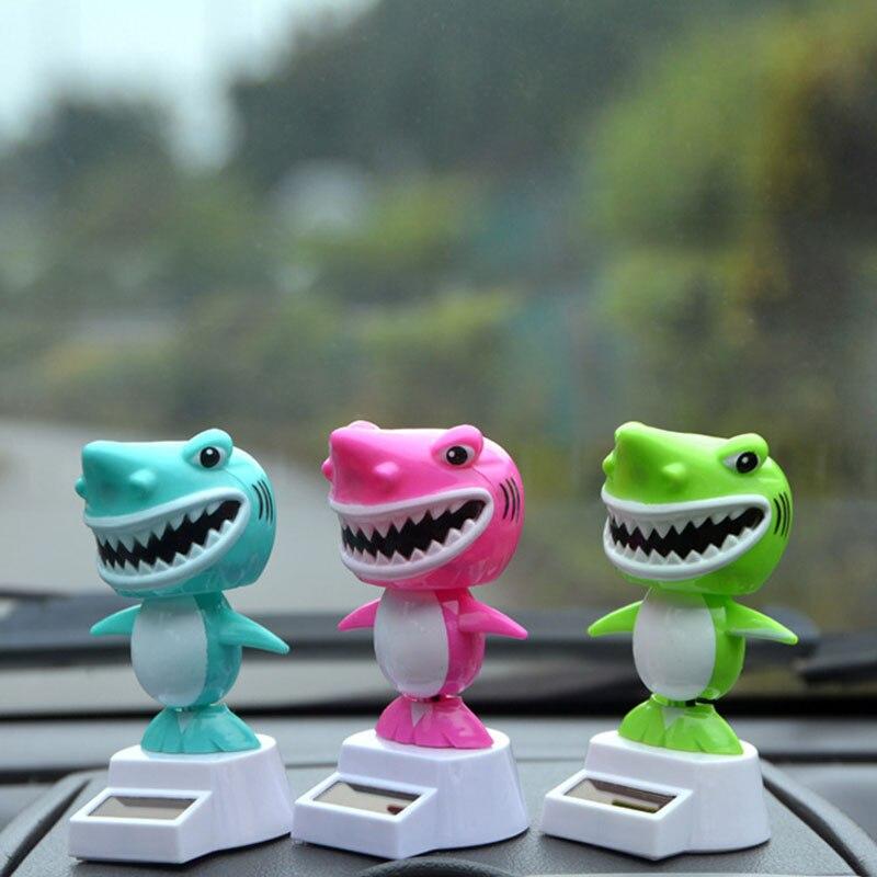 1Pcs Cute Cartoon Solar Energy Swing Doll Shark Toys Creative Vibrant Home Ornaments Automotive Crafts Decoration