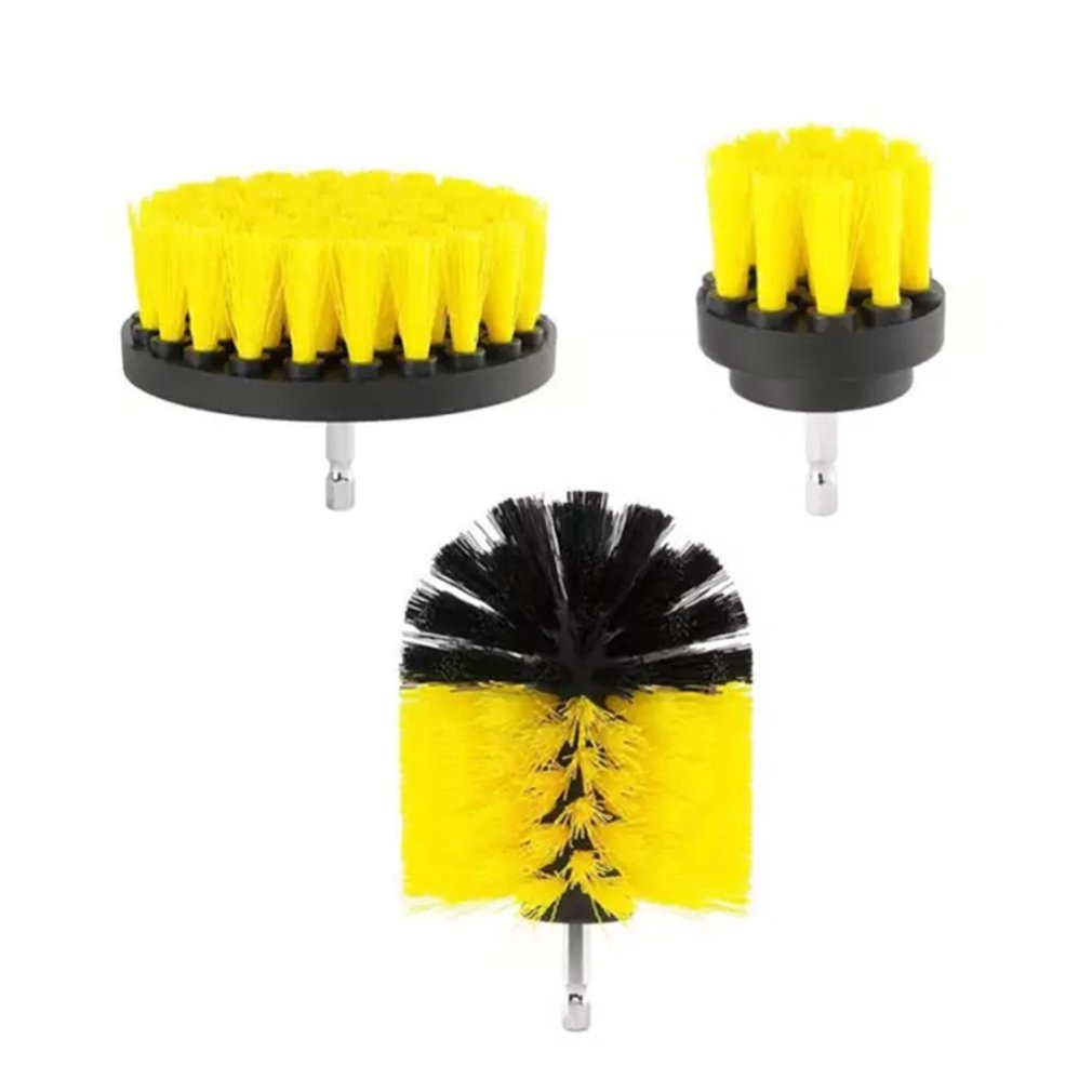 3pcs Power Scrubber Brush Drill Brush Clean For Bathroom Surfaces Tub Shower Tile Grout Cordless Power Scrub Cleaning Kit