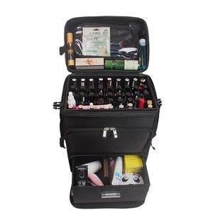 Image 3 - Vrouwen Nail Cosmetische Zak Schoonheid Koffer Trolley Grote Cosmetische Make Up Doos Professionele