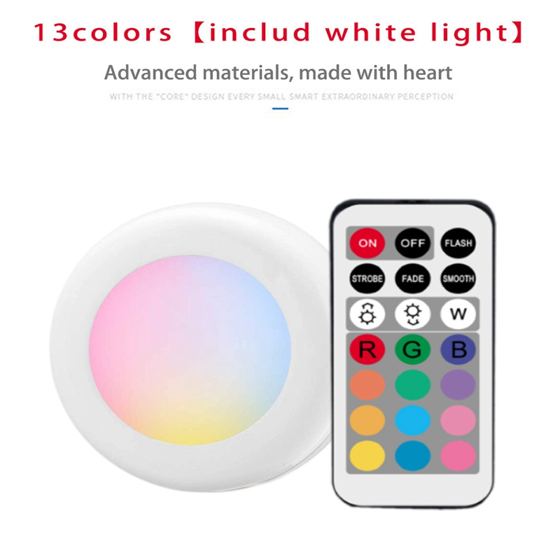 Dimmable RGB LED Lights Kitchen Lamp Touch Sensor Wardrobe/Closet/Cabinet Night Light Puck Light With Remote Controller 12 Color