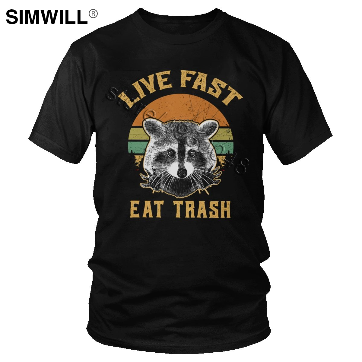 Retro Live Fast Eat Trash Raccoon Tshirt Mens Pure Cotton Racoon Shirts Short Sleeve Round Collar Panda T-shirt Summer Tees Gift