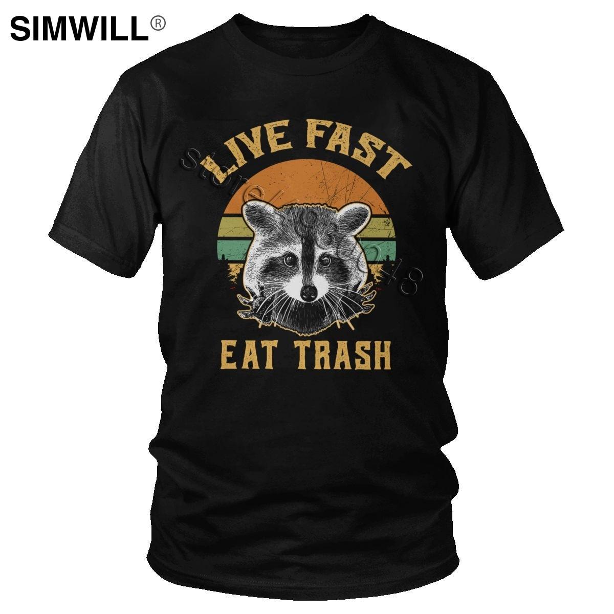 Retro Live Fast Eat Trash Raccoon Tshirt Mens Pure Cotton Racoon Shirts Short Sleeve Round Collar Panda T-shirt Summer Tees Gift