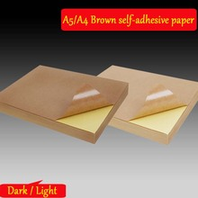 20 50 Sheets 80g A4 A5 Brown Kraft Paper Self Adhesive Sticker Printing Labels For Inkjet Laser Printing Copier Craft Paper