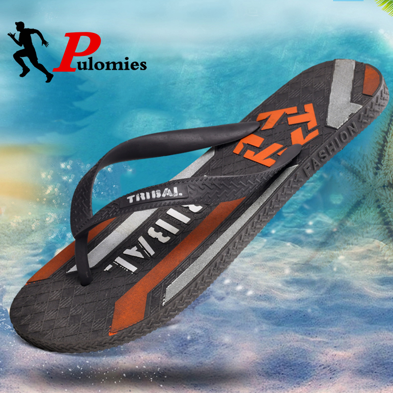 Pulomies 2020 Summer Graffiti Print Slippers Men Flip Flops Quick Dry Slippers Male Street Beach Slippers Casual Flip-flops
