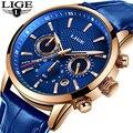 LIGE новые мужские часы Топ бренд синий кожаный Хронограф водонепроницаемые спортивные автоматические кварцевые часы для мужчин s Relogio Masculino