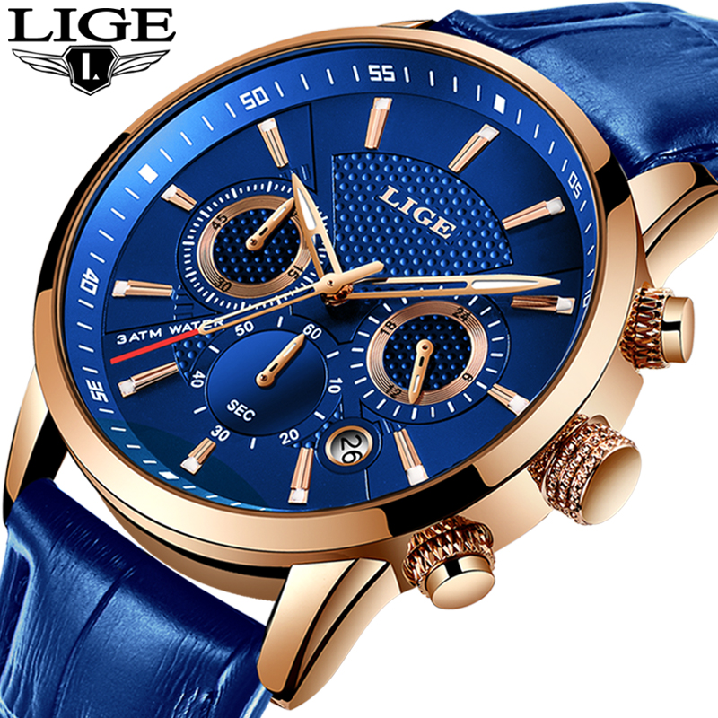 LIGE New Men Watch Top Brand Blue Leather Chronograph Waterproof Sport Automatic Date Quartz Watches For Mens Relogio Masculino
