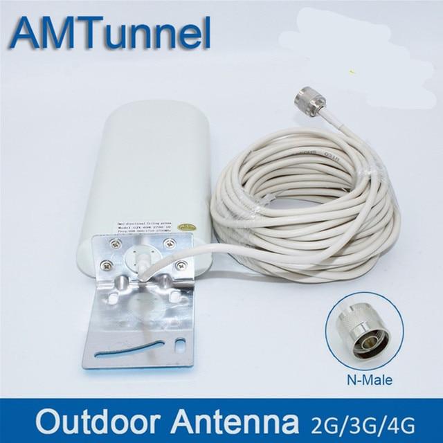 GSM anten yükseltici 3G 4G LTE Anten 20dBi 3G harici anten 10m kablo ile 698 2700MHz 2G 3G 4G cep sinyal tekrarlayıcı