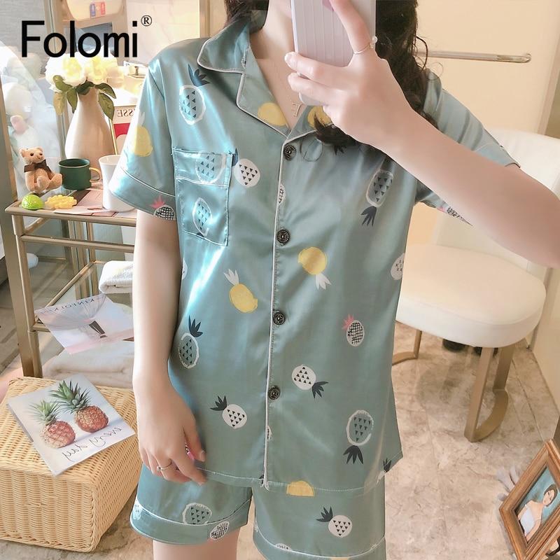 2020 New Printing Short Sleeve Silk Pajamas Set Two Pieces Set Women Sleepwear Cute Nightwear for Women Sleeping set 2