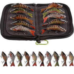 10Pcs/Bag 10cm 15g Wobblers Fishing Lures Multi Jointed Swimbait Hard Artificial Bait Pike/Bass Fishing Lure With Portable Bag
